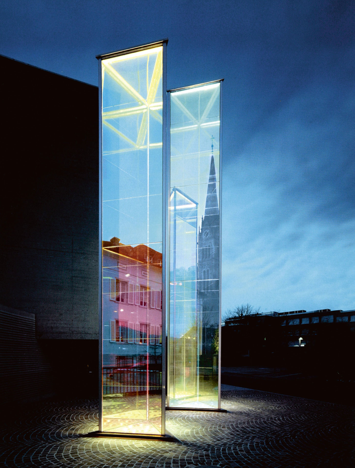 Heinz Mack, Two glass prisms, 2002, coated glass, height = 8 m and 10 m, WVZ R 1517